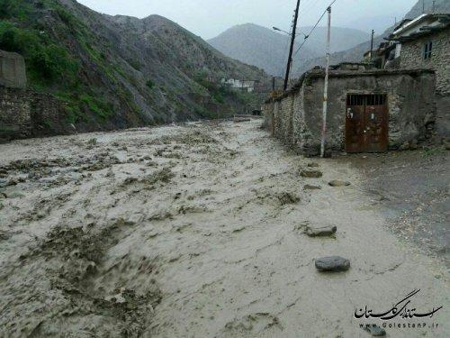 قطع ارتباط مواصلاتی با دو روستای رامیان/گزارش تصویری از سیل در گلستان