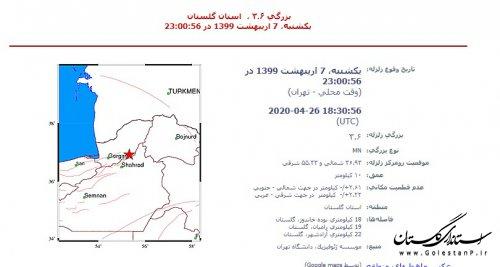 زمین لرزه به بزرگاری 3.6 در شهر نوده خاندوز