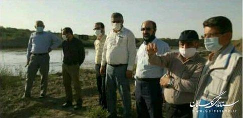 بازدید مدیر کل مدیریت بحران استان , سرپرست شرکت آب منطقه ای استان از وضعیت سیل و تاسیسات آبی حوضه اترک