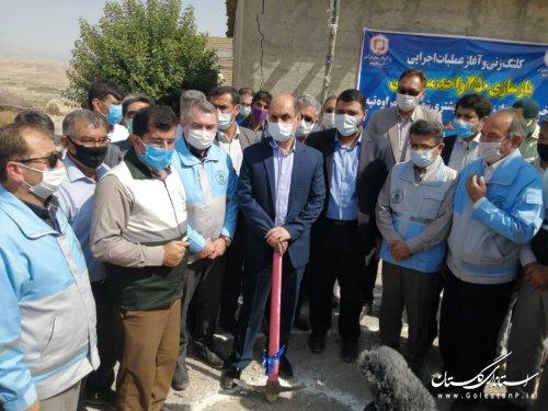 کلنگ زنی عملیات بازسازی واحدهای آسیب دیده از حادثه زلزله توسط استاندار گلستان در شهرستان مراوه تپه